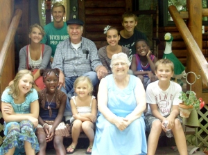 Nine of our 16 grandchildren with Jerry and me!