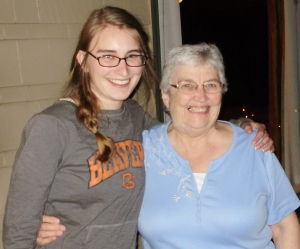 Lorraine's granddaughter, Laura, and me. Sept. 2012