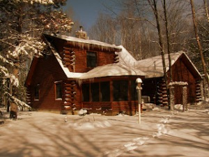 Back log home winter